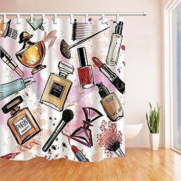 Girly Decor Vorhänge Dusche Von Gohebe Hand Drawn Mädchen Make Up