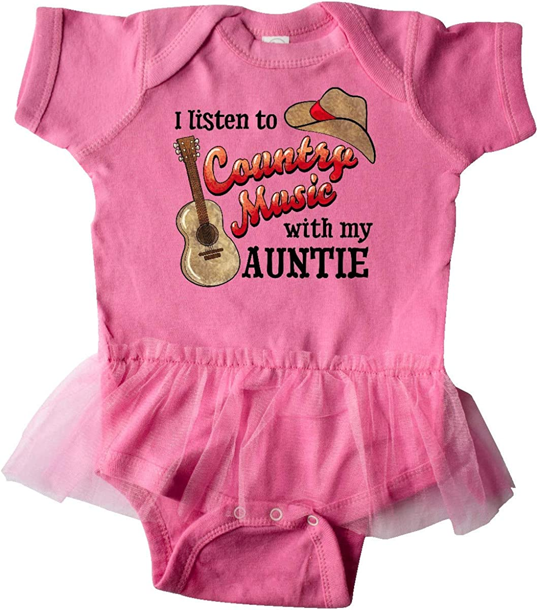 inktastic I Listen to Country Music with My Auntie Guitar Infant Tutu Bodysuit