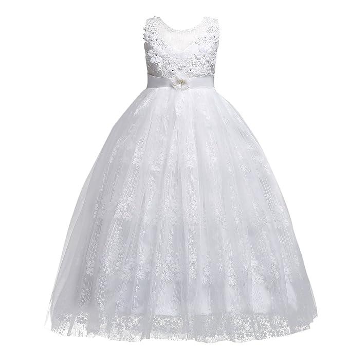 9ff669b7fe51 Vestito Principessa Bambina Ragazze Pizzo Lungo Festa Fiore Garza Abiti da  Sera Matrimonio Cerimonia Abito Damigella