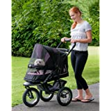 Pet Gear No-Zip NV Pet Stroller for Cats/Dogs, Zipperless Entry, Easy One-Hand Fold, Gel-Filled Tires, Plush Pad + Weather Co
