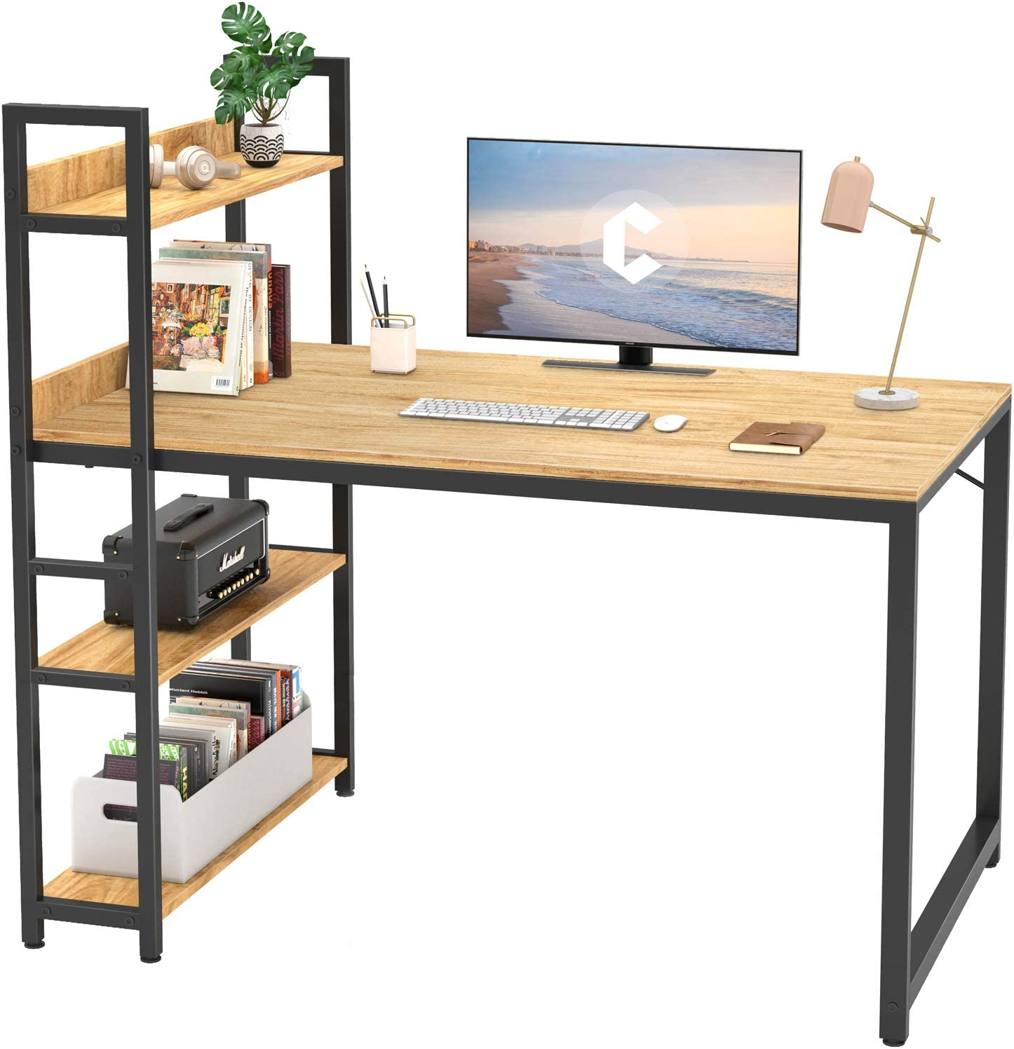 Cubicubi Computer Desk 47 inch with Storage Shelves Study Writing Table for Home Office,Modern Simple Style,Walnut
