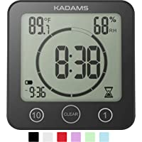 KADAMS Digital Clock Timer with Alarm, Waterproof for Water Spray for Bathroom Shower Kitchen, Touch Screen Timer, Temperature Humidity Display, Suction Cup Hanging Hole Stand, Low Battery Indicator (Black)