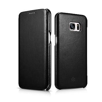 2f1db62c766 Leather Samsung Galaxy S7 Edge Case - NOVADA Genuine Leather Flip Cover -  Black