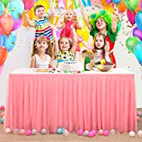 Surmente 6ft Tulle Table Skirt for Rectangle and Round Tables Pink Tutu Table Skirt Decoration for Baby Shower Banquet Wedding Birthday Parties