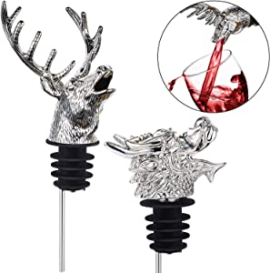 2 Pieces Stainless Steel Wine Pourer Bottle Pourer Wine Aerator Pourer Dragon and Deer Head Shape Wine Bottle Stopper for Christmas Halloween Near Year Gift