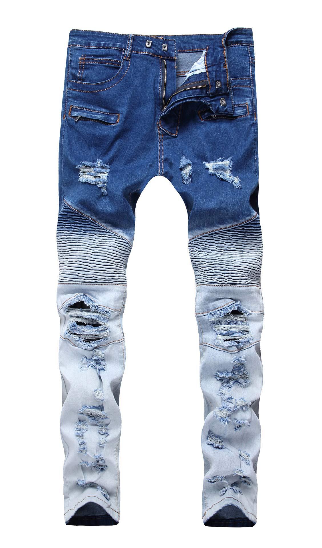 COLINNA Men's Moto Biker Vintage Distressed Ripped Slim Fit Skinny Stretch Denim Jeans