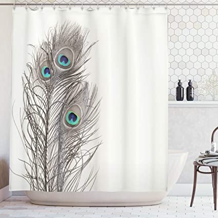 Ambesonne Natural Peacock Tail Feathers with Eyes Home Designers Selection  Decorative Item Pearl Ivory Bathroom Art Digital Print Polyester Fabric
