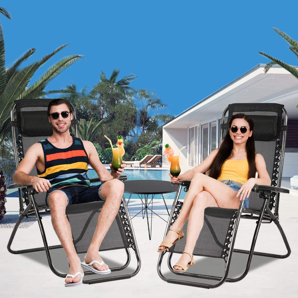 Pool Tan Yard Deck Zero Gravity Chair Patio Chair Lounge Chair Chaise Recliner 2 Pack Outdoor Folding Adjustable Heavy Duty Zero Gravity Chair with Pillows for Patio Lawn Beach