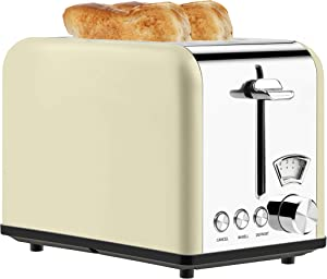 Toaster 2 Slice Toasters Best Rated Prime with Visible Window Setting for 5 Brown Level,Compact Stainless Steel Toaster with Bagel/Defrost/Cancel Functions,Extra Wide Slots,Removable Crumb Tray