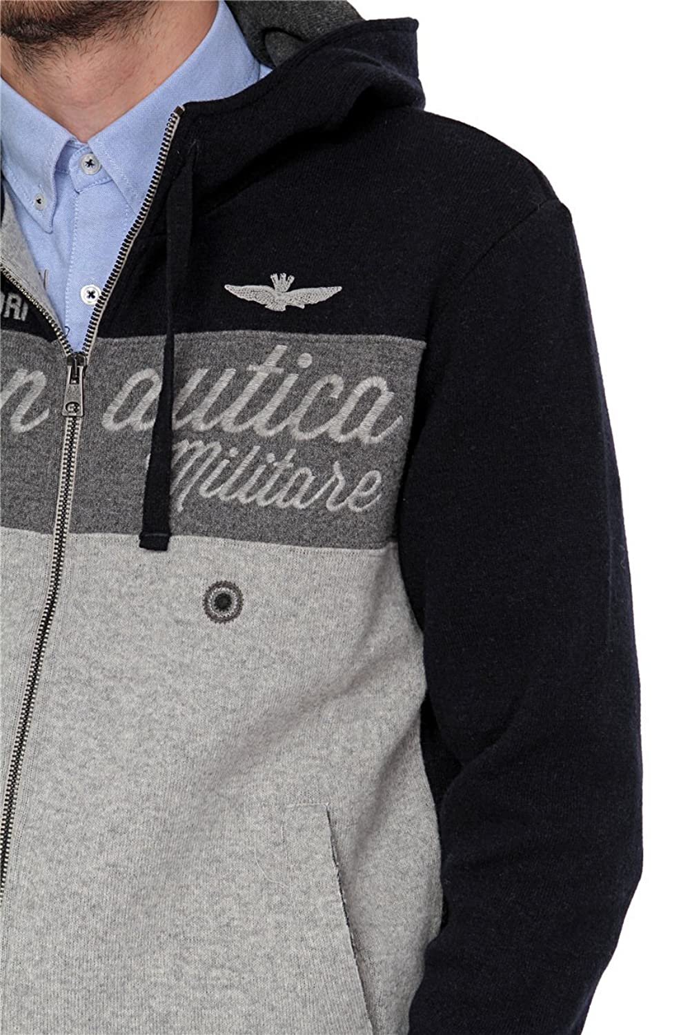 Aeronautica Militare Zip Through Hooded Sweatshirt, Color: Dark blue