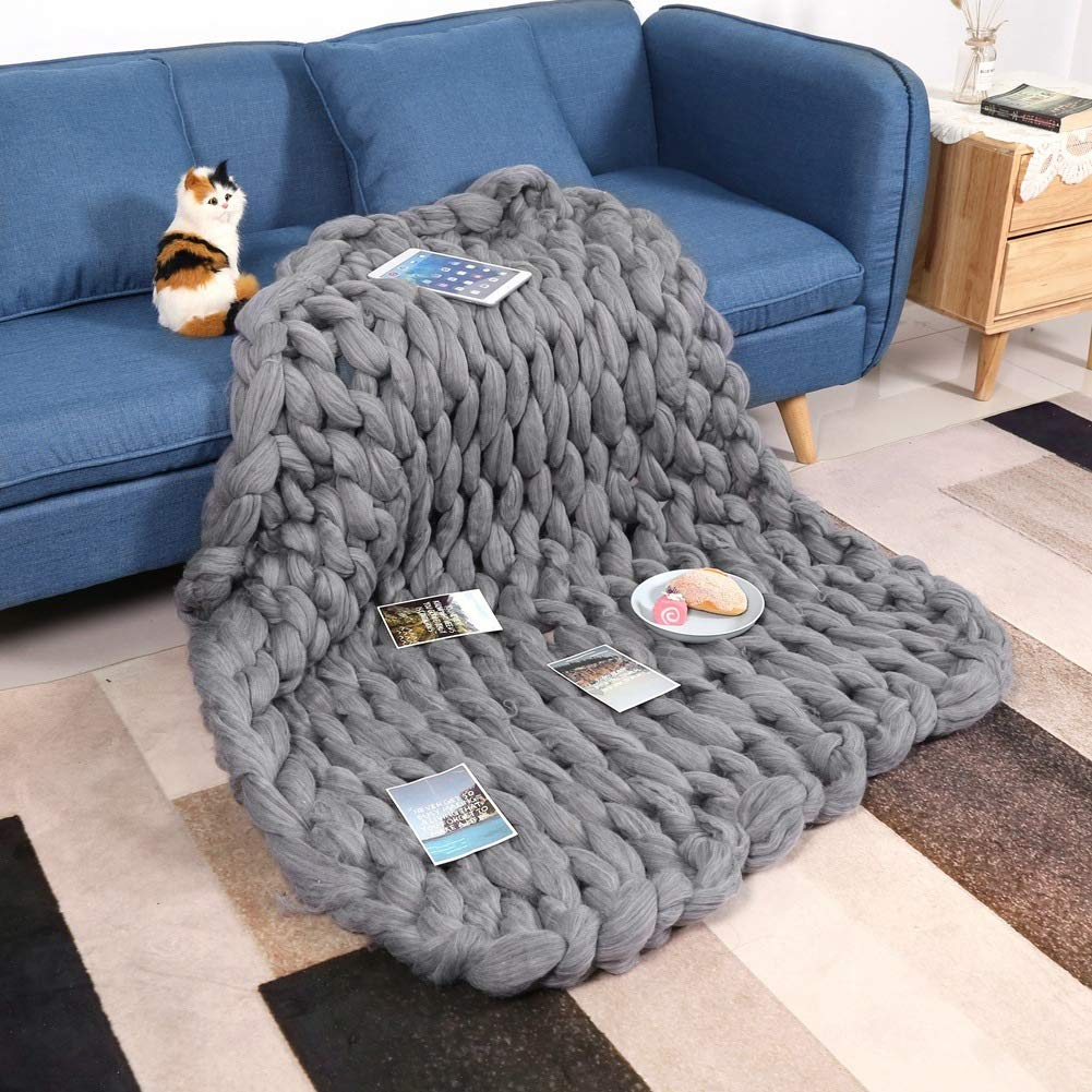 Knitted Blanket - Handmade Knitted Warm Blanket, Wool Thick Line Blanket Throw, Home Decor (Size : 100 x 130 cm) by DeWin (Image #5)
