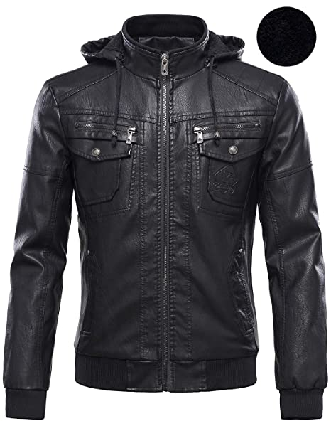 68383a2d5d9 Tanming Men s Plus Velvet Motorcycle Pu Faux Leather Jacket with Removable  Fur Hood at Amazon Men s Clothing store