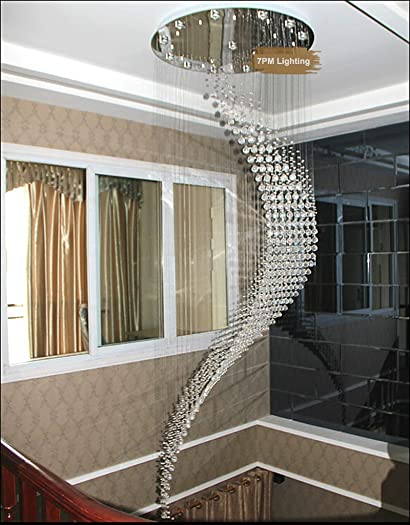 7PM W32″ X H96″ Staircase Moon Shaped Wave and Spiral Clear K9 Crystal Chandelier Flush Mount