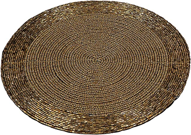 Set De Table Rond 4 Pieces 20 Cm Dore Amazon Fr Cuisine