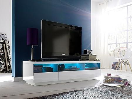 Dreams4Home TV-mueble para rollo de alto brillo colour blanco LED de cambio de iluminación, mueble
