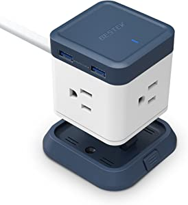 BESTEK Compact Power Strip Travel Cube 3-Outlet and 4 USB Charging Station with Mountable Detachable Base, 5 Feet Extension Cord, Flat Plug,1875W