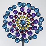 """Bits and Pieces - Multi-Colored 72"""" Metallic Wind Spinner - Windspinner Made of Metal and Steel - Unique Outdoor Lawn and Garden Décor"""