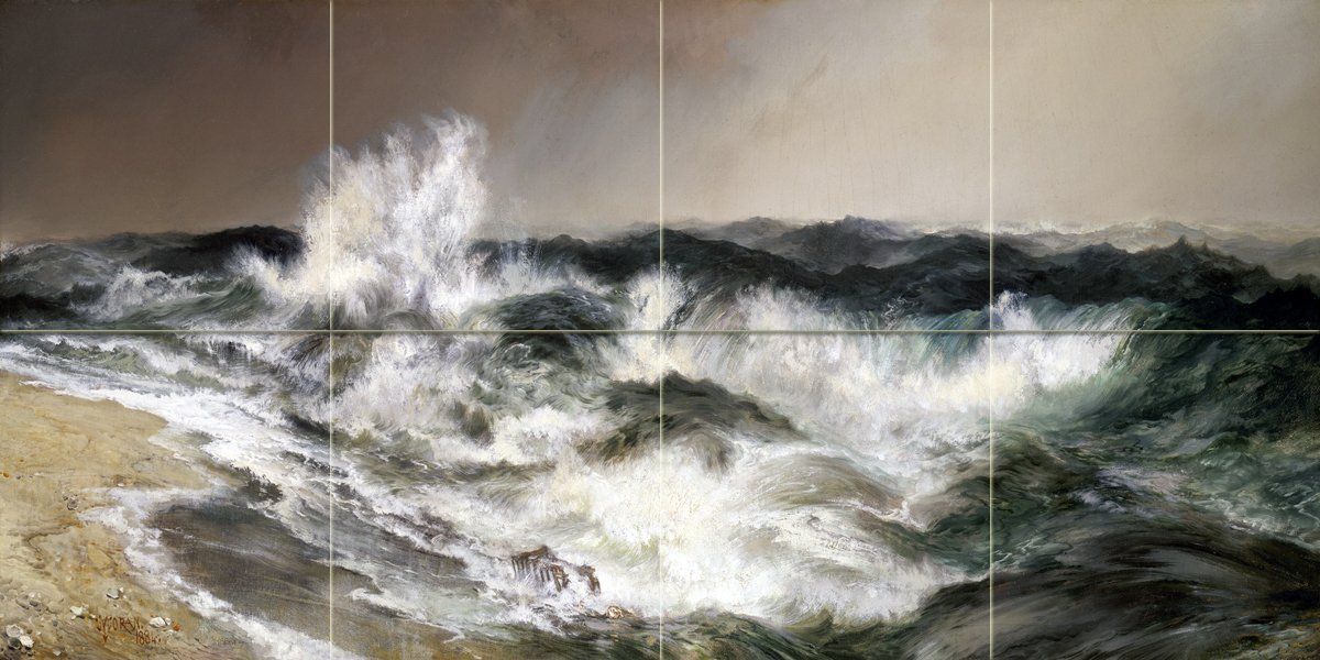 Seascape the much resounding sea by Thomas Moran Tile Mural Kitchen Bathroom Wall Backsplash Behind Stove Range Sink Splashback 4x2 6'' Marble, Matte