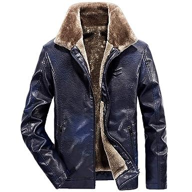 0eb4e8dd6fa95 Magiyard Hommes La Mode l hiver Revers Fermeture à glissière Poche  Cachemire Imitation Épaissie Manteau de Cuir  Amazon.fr  Vêtements et  accessoires
