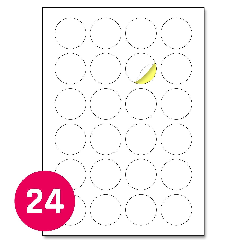 A4 Round Matte White Sticker Labels Laser//Inkjet Printing 12 per Sheet 60mm 25 Sheets