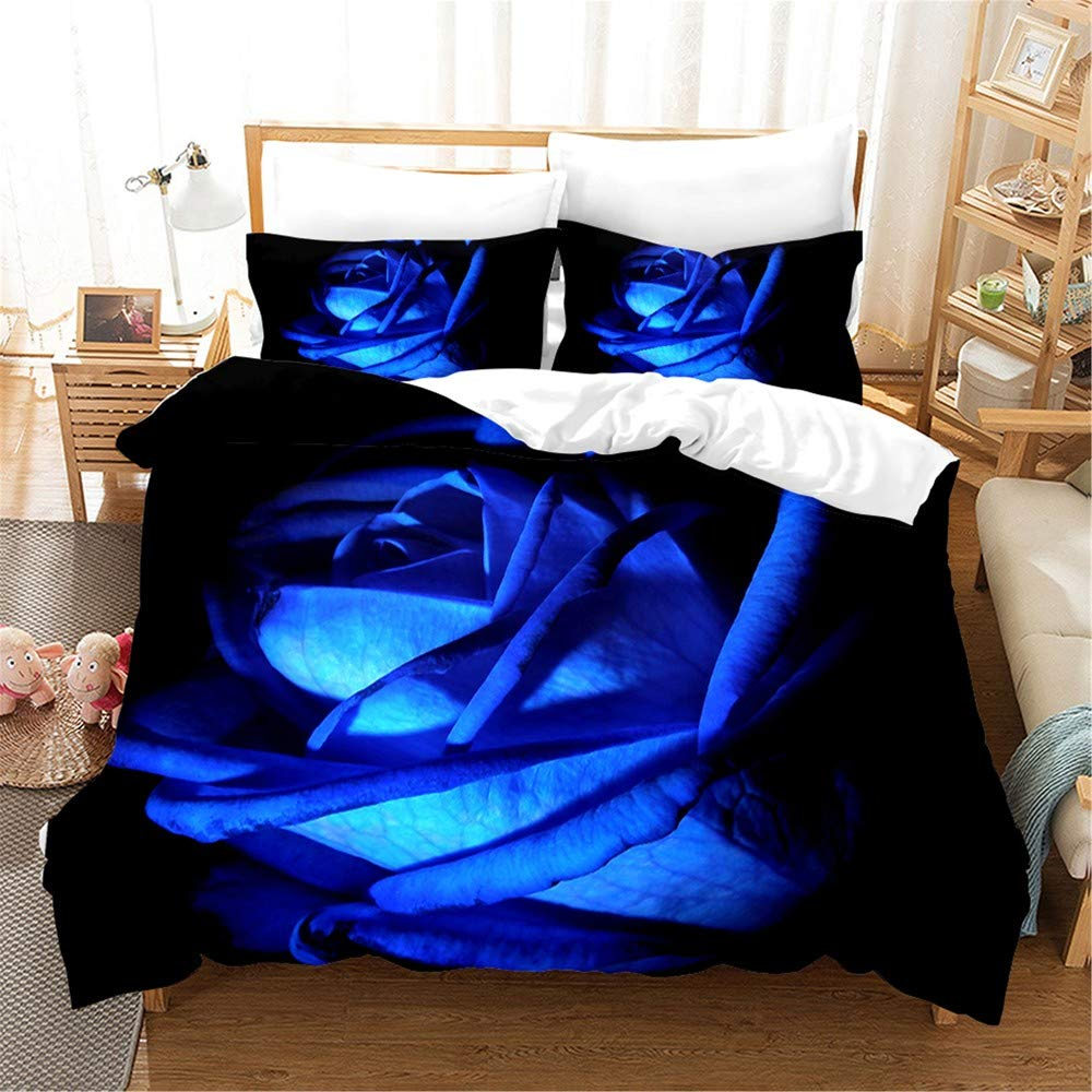 Feelyou Valentine's Day Duvet Cover Set Queen 3D Printed Blue Rose Floral Bedding Set Blossom Rose Flowers Comforter Cover with 2 Pillow Shams Luxury Microfiber Bedspread Cover Elegant 3 Pcs