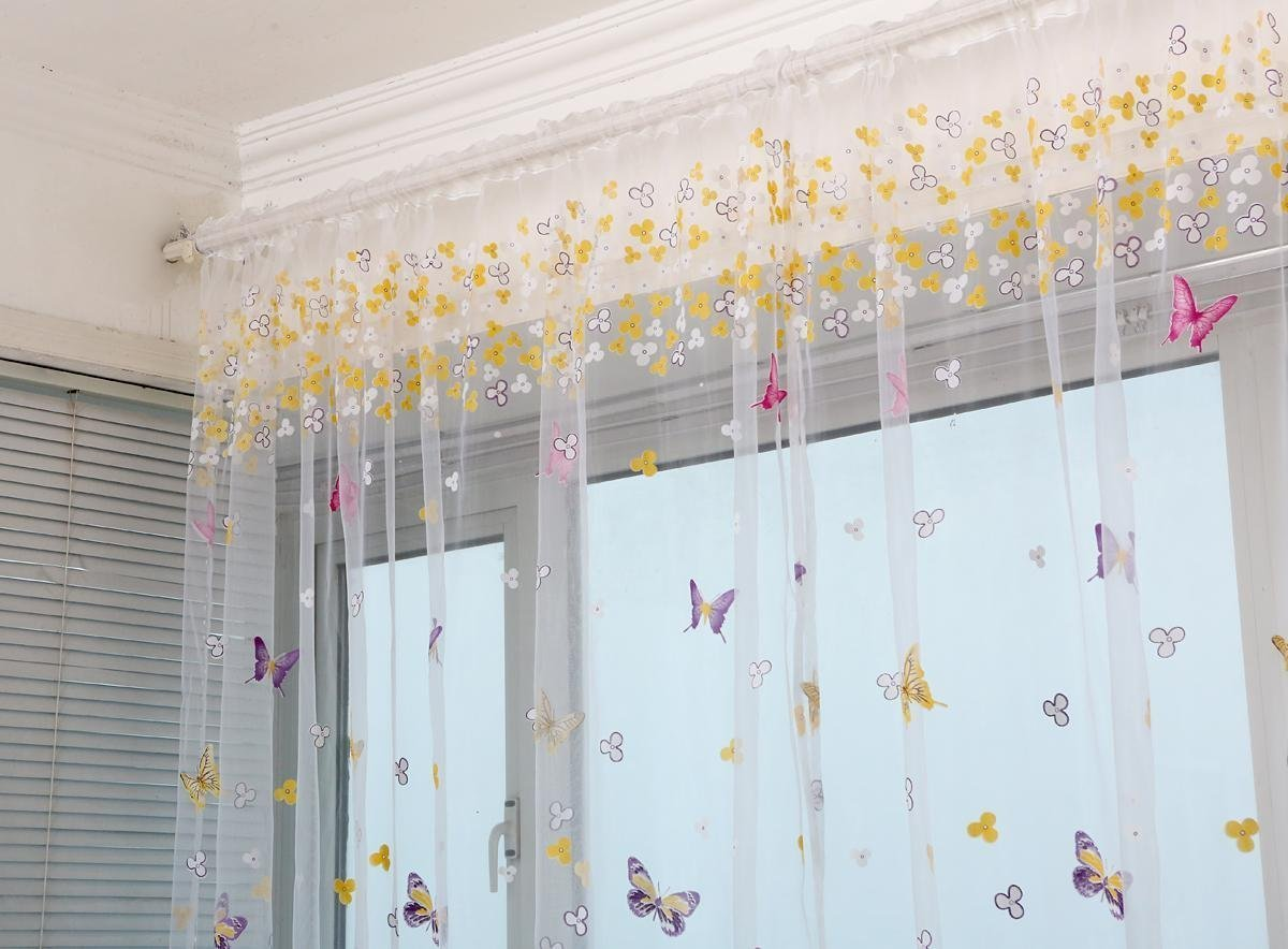 WPKIRA Window Treatments Decorative Perspective Butterfly Print Floral Tulle Voile Door Window Rom Curtain Drape Panel Sheer Scarf Valances Rod Pocket Top