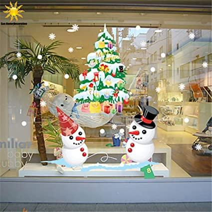christmas window decorations snowman christmas tree snowflake wall decals resuable sticker for shop home decor