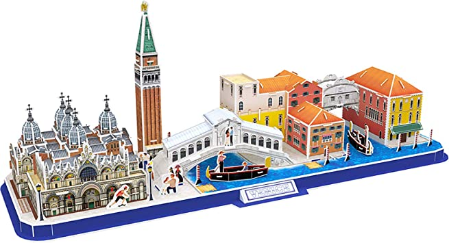CubicFun Puzzle 3D Venice City Skyline Puzzle Kits de Modelos de construcción de Bricolaje, Basílica y Torre de San Marco en Italia, Gran Canal, St. Plaza de Marcos 126 Piezas: Amazon.es: Juguetes