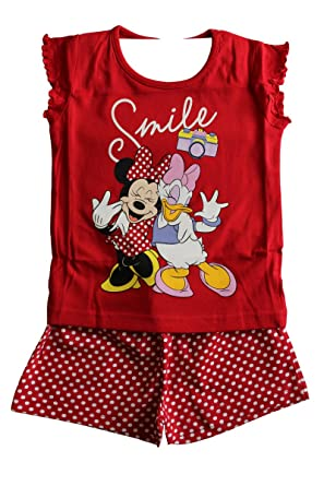 Original Branded Disney Minnie Mouse Childrens Girls Character 18 Months to 6 Years Red Pyjamas Shirt