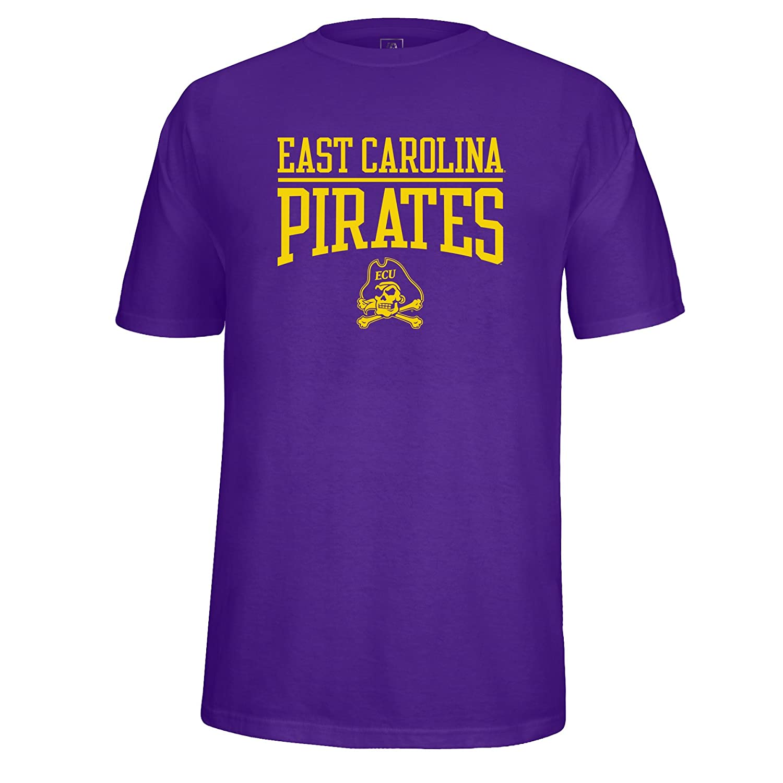NCAA East Carolina Pirates Adult School Name Over Logo Choice Tee X-Large Purple