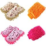 ZAKEY 2 Pairs Men and Women Chenille Floor Cleaning Mop Slippers with 2 Microfiber Washable Mitts, Multiple Sets, Women6-8/Men 5-7