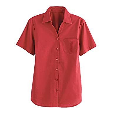 3dc75afd8cea4 Blair Women s Plus Size Cottage Camp Shirt - XL Salsa Red at Amazon ...