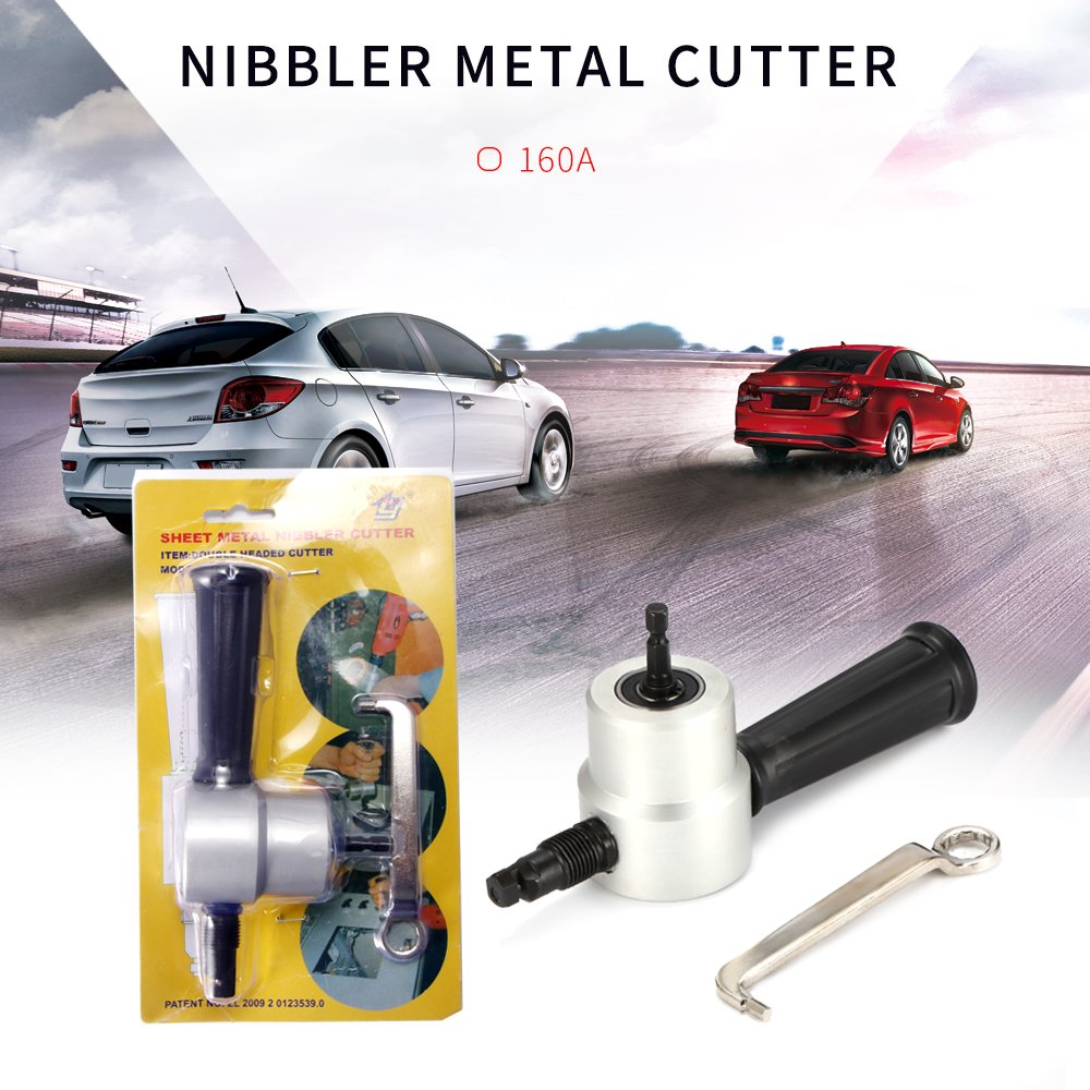 Nibble Metal Cutter for Drill ALLOMN Power Tool Parts Double Head Sheet 360 Degree Drill Attachment for Car Repairing