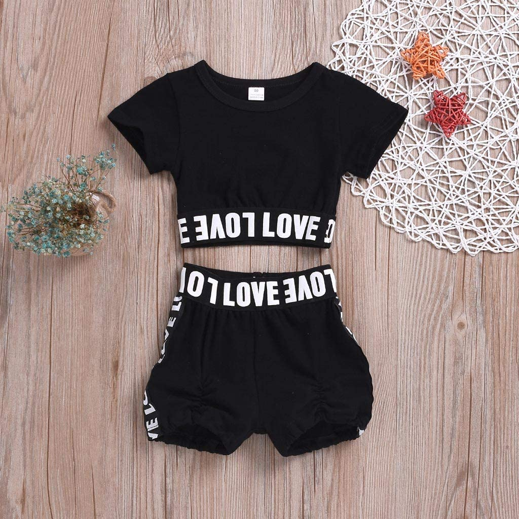 Perman Toddler Baby Kids Black Love Letter Printing Short Sleeve Coat Shorts Two-Piece Outfits Set