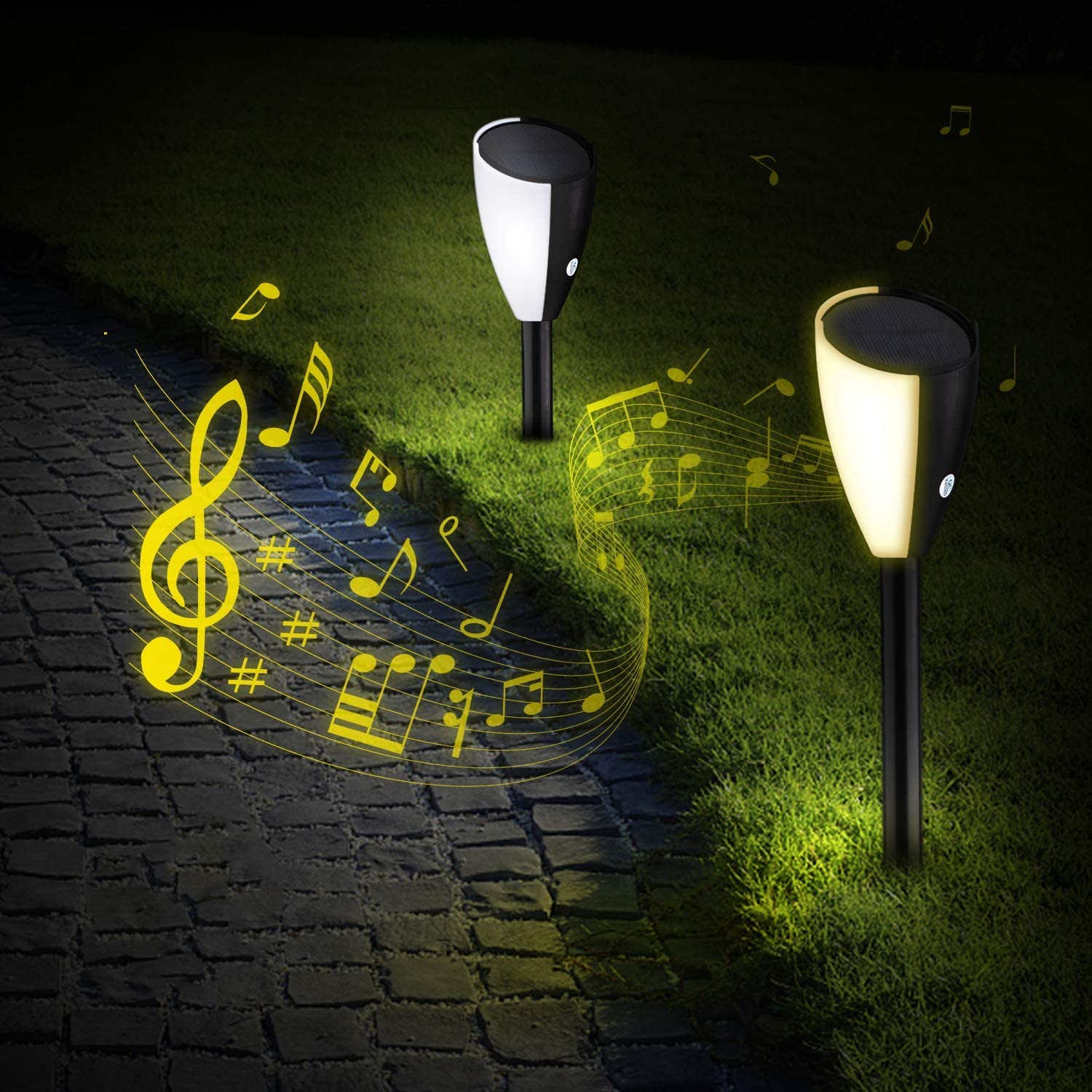 Outdoor Singing Garden Lights, Waterproof Solar Pathway Lights, Auto On/Off LED Garden Light for Patio, Lawn, Yard and Landscape - 2 Pack, Warm/White Light Switchable
