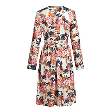 7bc4564ebe2 Knee Length Dress Women Floral Print Thin Vintage Casual Work Office A Line  at Amazon Women s Clothing store