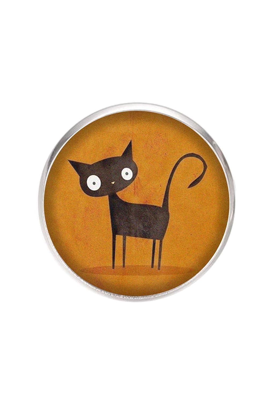 illustration Chat noir diam/ètre 25 mm fait /à la main /épingl/é 0,7 mm Broche en acier inoxydable