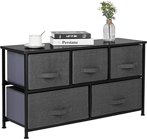ORAF Wide Drawer Dresser, Fabric Storage Tower, Organizer Unit with 5 Easy Pull Fabric Drawers for Bedroom, Hallway, Entryway, Closets, Metal Frame and Wooden Tabletop- Charcoal Gray Black