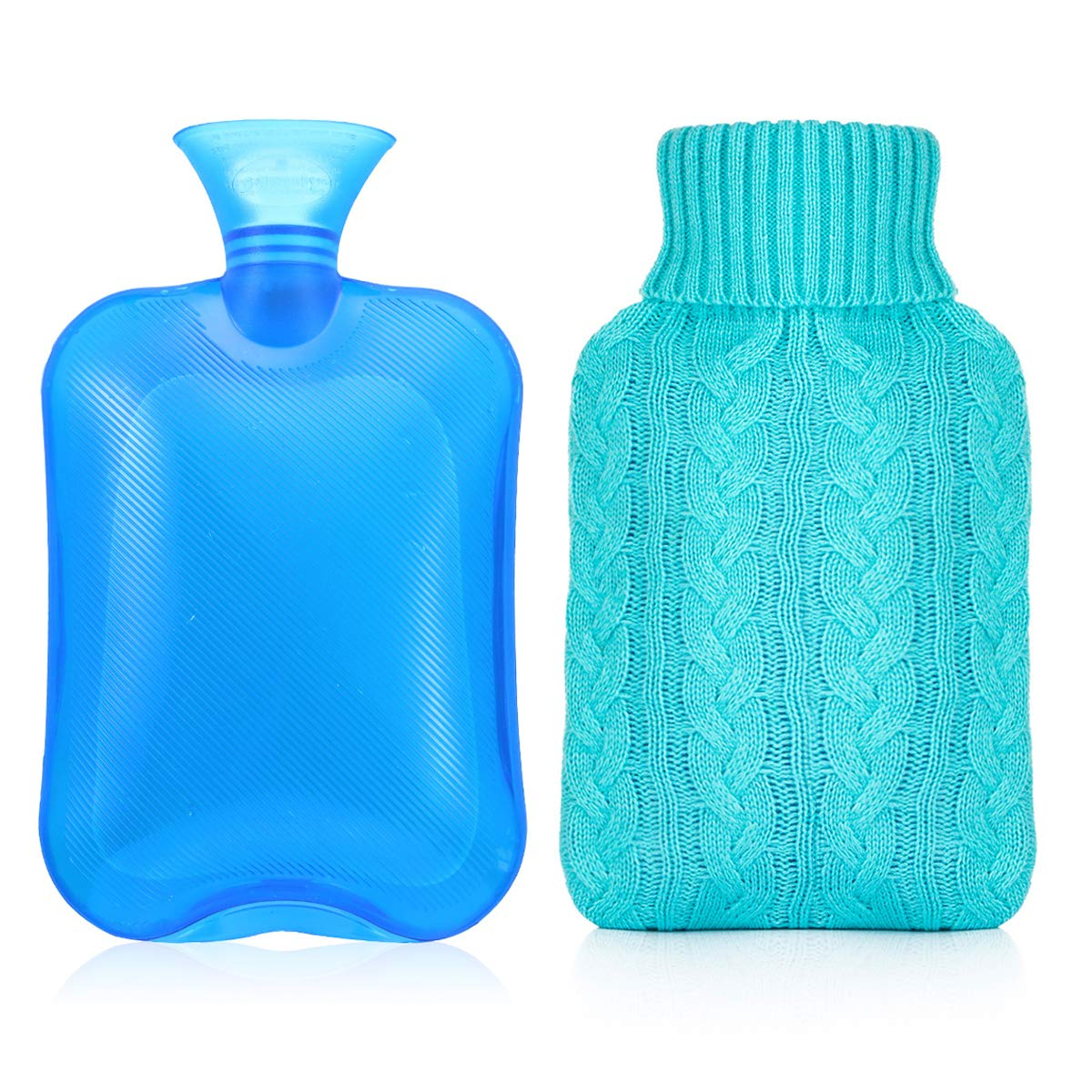 Samply Transparent Hot Water Bottle,PVC Hand Warmer Knit Cover,Blue,2L