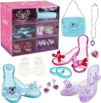 deAO Juego de Zapatos y Accesorios de Princesa Conjunto Infantil de Imitación 3 Pares de Zapatos con Tacón, 1 Par de Ballerinas, Corona y Joyas