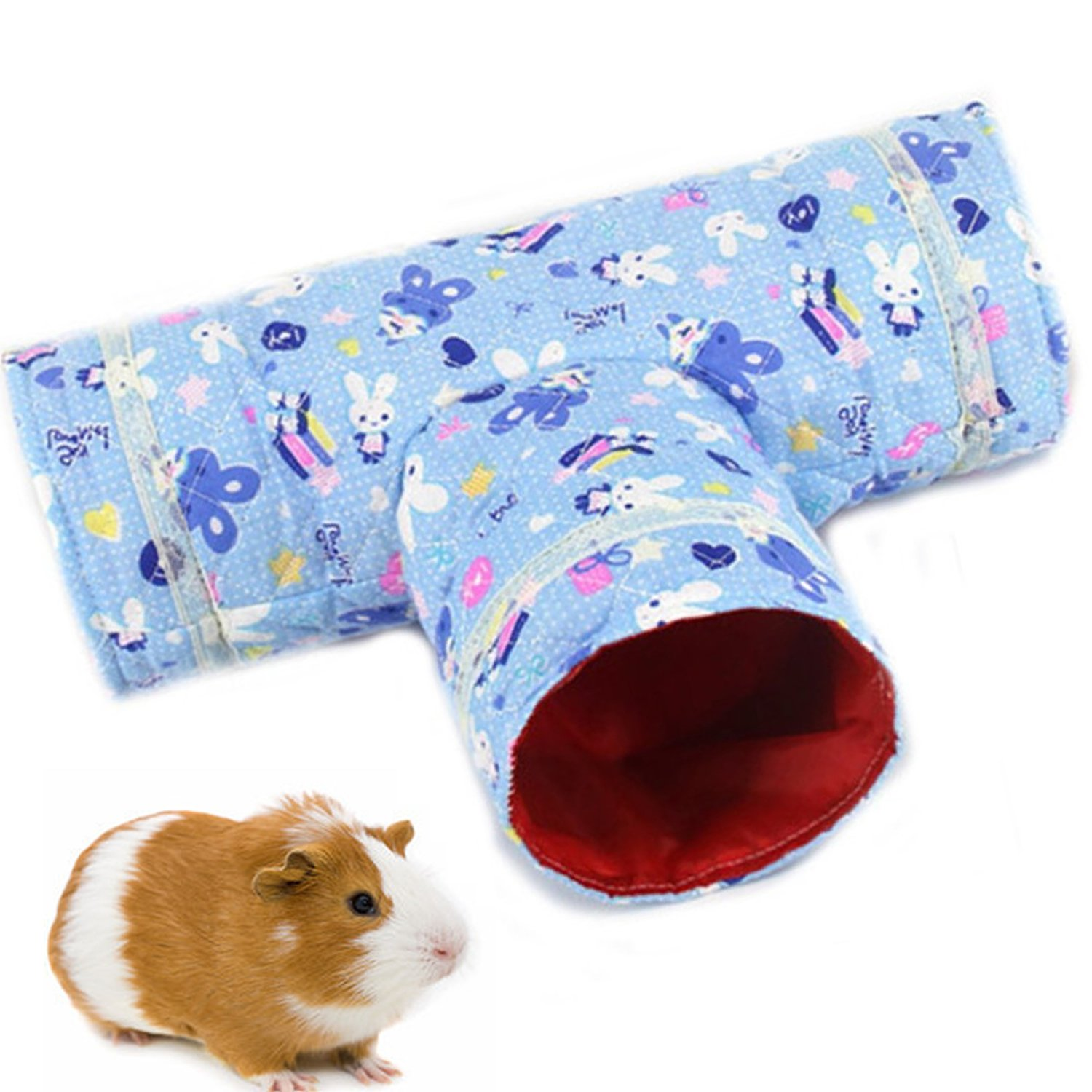 pranovo 3 Way Hamster Tunnel Toy T Shape Spring Collapsible Cartoon Hideout Bed Nest House Tubes Playing Hut for Gerbil Rat Guinea Pig Chinchilla Squirrel Rabbits Small Animals (Bule)