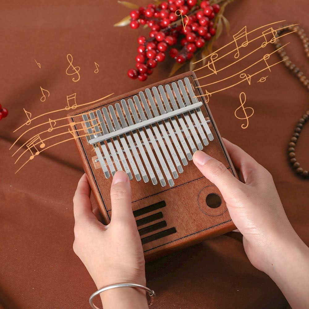 piano per il pollice con libro di musica custodia,ecc Kalimba 17 tasti mreechan Kalimba piano per il pollice Strumento in mogano marimba per i principianti degli amanti della musica. accordatore