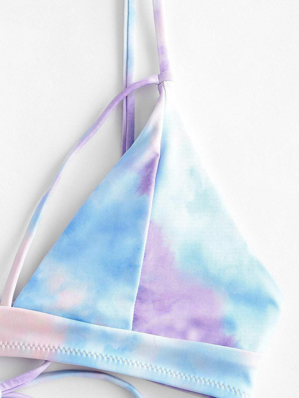 ZAFUL Bikini da Donna in 2 Pezzi Imbottito Set Costume da Bagno Cinghie Incrociate sul Retro