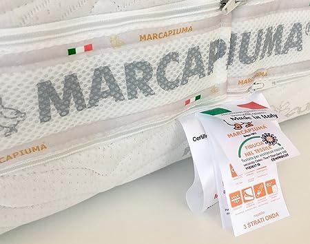 Marcapiuma - Colchón viscoelástico Cuerpo y MedioMemory 120x190 Alto 23 cm - Onda Med - H2 Medio 11 Zonas - Producto Sanitario CE - Funda desenfundable ...