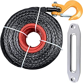 RED Hook 10 Silver Hawse Fairlead Recovery ATV UTV Truck Boat Ramsey Astra Depot 95 x 3//8 Black Synthetic Winch Rope Line Cable 20500LBs Protective Sleeve