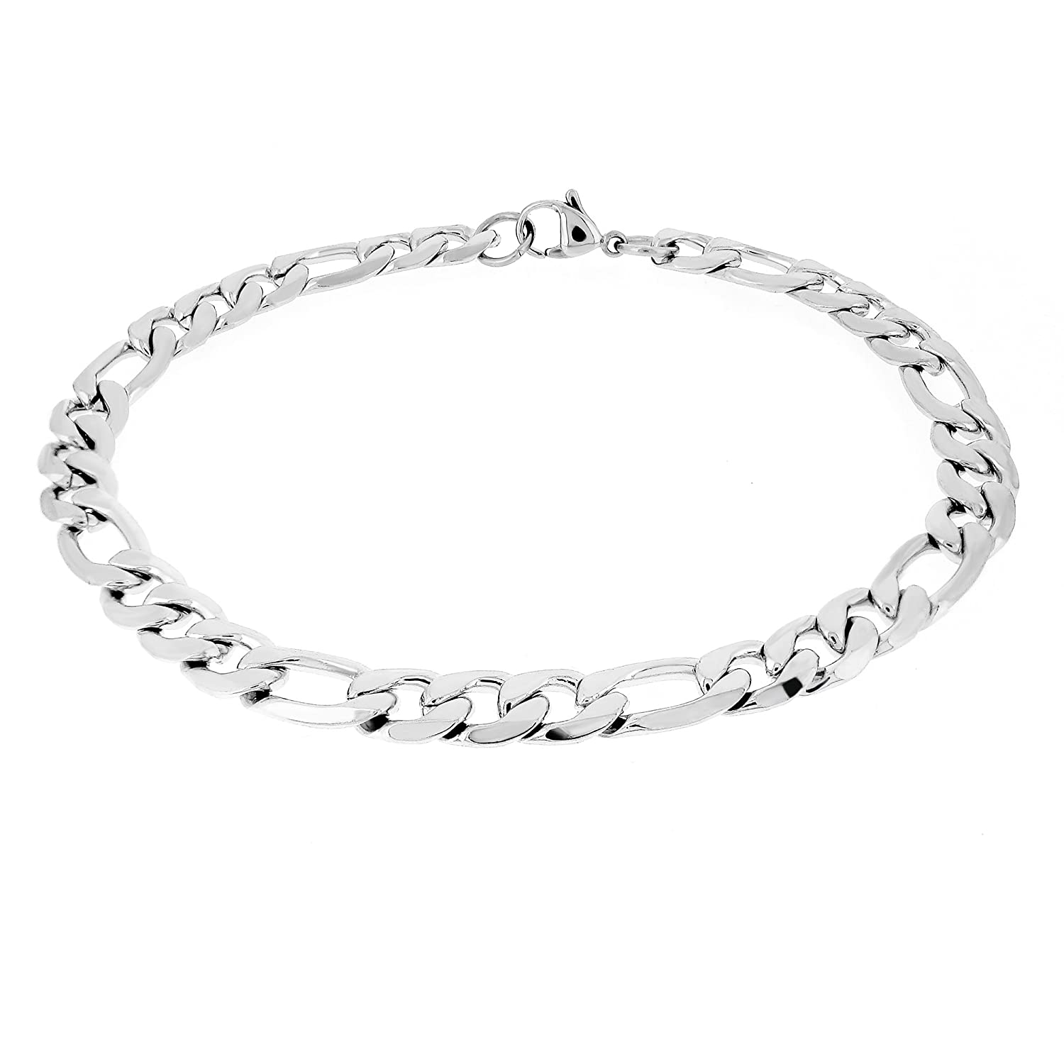 Pure316 - Surgical Stainless Steel (316L) Figaro Link Curb Bracelet - 8 inch FIG7-SSB-80