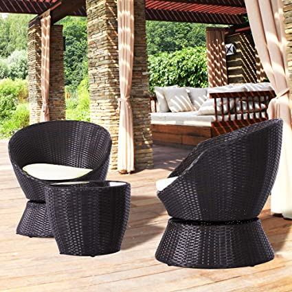 Excellent Amazon Com Nuu Garden 3 Pcs Outdoor Swivel Bistro Caraccident5 Cool Chair Designs And Ideas Caraccident5Info