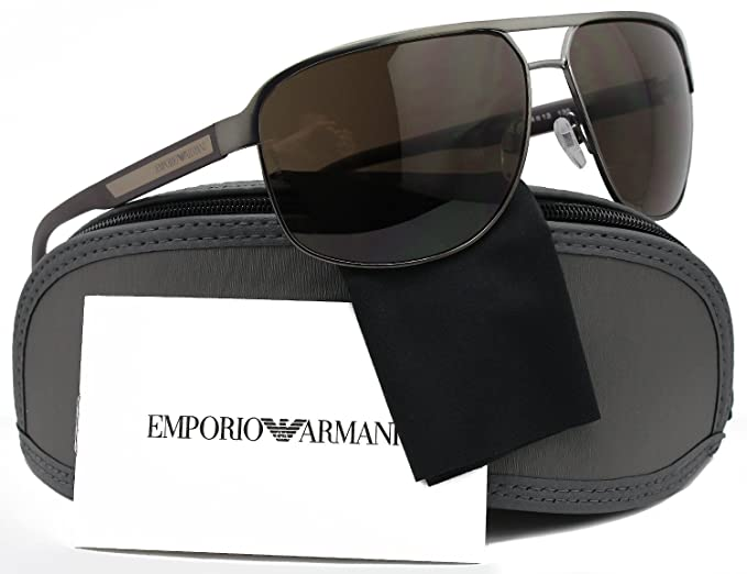 854193db647aac Amazon.com  Emporio Armani EA2025 Aviator Sunglasses Matte Gunmetal  w Crystal Brown (3003 73) EA 2025 300373 64mm Authentic  Clothing