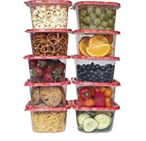 Cook with Color Containers with Lids, Plastic Food Storage Containers, Gift Containers, 10 Lunch Containers, Airtight, Reusable Containers, 33.8 Oz / 1 L.