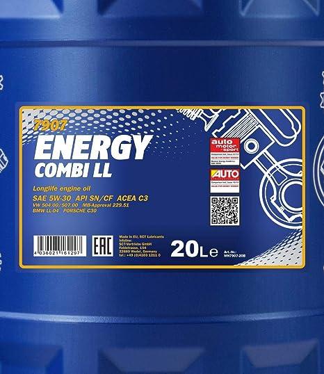 Mannol Motoröl Energy Combi Ll 5w 30 20l Auslaufhahn Auto
